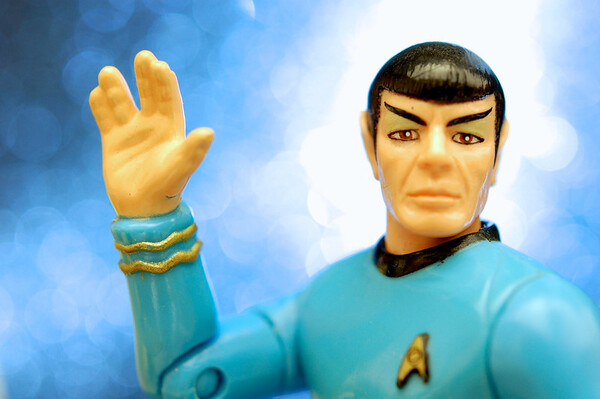 Photo by JD Hancock Close-up of a Spock action figure from the 1993 Playmates line of classic Star Trek toys.